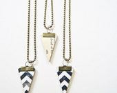 Eco- Friendly Necklace, Vintage Paper Chevron Necklace,Triangle Pendant,  Black & White Chevron, Book Pages Jewelry, Reversible Pendant