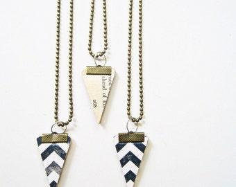 Eco- Friendly Necklace, Vintage Paper Chevron Necklace,Triangle Pendant,  Black & White Chevron, Book Pages Jewelry, Reversible Pendant