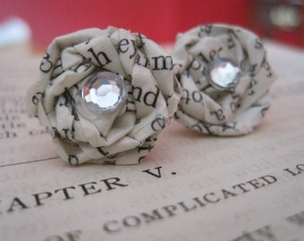 Ch.5 Vintage Paper Earrings,Paper Earrings, Vintage Paper Earrings,Vintage Paper Jewelry,Book Pages Earrings,Eco Friendly Studs, Book Theme