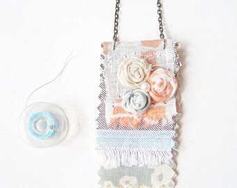 Fringe Necklace,  Pastel Banner  Necklace,Soft Pastel Shabby Chic Design, Summer Fashion, Powder blue & Coral Jewelry