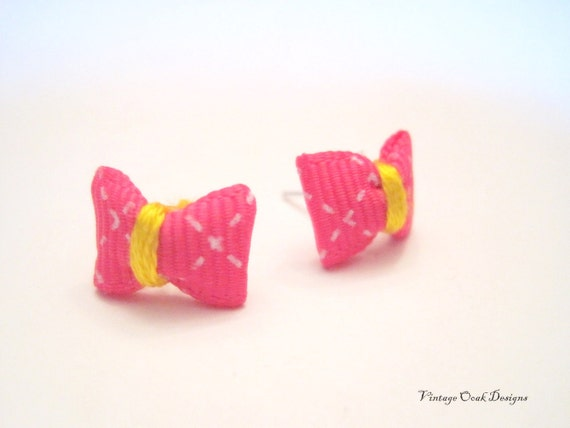 Bowtie Ribbon Earrings - Petite Lil' Bowties in Fabulous Designs, Cute Valentine Gift, OriginalOOAK Handmade