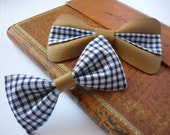 Blue and white gingham fabric unisex bowtie pin clasp with a soft tan upcycled real leather strip, fashion accessory 2013