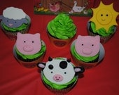 Fondant Cupcake Toppers- Farm Animals