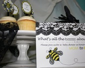 Bumble Bee Theme Baby Shower Invite - with lace