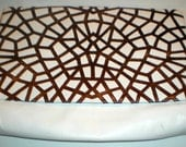 Vintage ANDREA PFISTER for Neiman Marcus White Leather with Brown Faux Snake Skin Handbag / Clutch