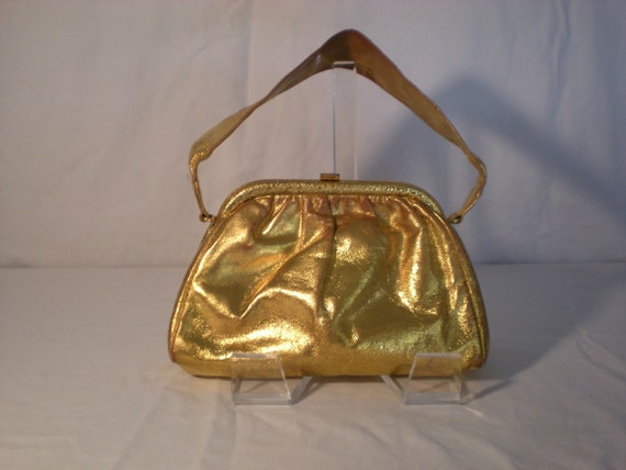 1960s Saks Fifth Avenue Small Gold Formal Clutch