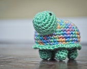 Crochet Baby Toy - Tiny the Turtle Rattle - Multi Color Shell - READY TO SHIP