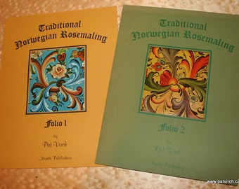 TWO Folios of 8 full-colored Rosemaling Designs