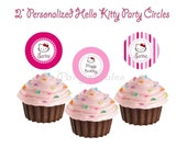 """Hello kitty Pink birthday party cupcake toppers Personalized Custom Printable 2"""" circles Favor tags PartyTales"""