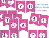 American girl Doll Printable birthday party Banner -YOU CHOOSE DOLLS-