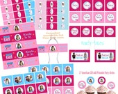 American girl doll party COLLECTION cupcake toppers favors Thank you tags Water bottle labels Birthday Banner Printable YOU CHOOSE Dolls