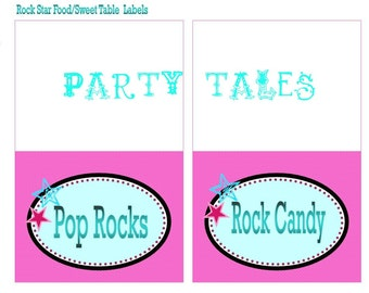 Rock Star Rocker Girl Custom 10 FOOD SWEETS Table LABELS  Birthday Party Printable PartyTales