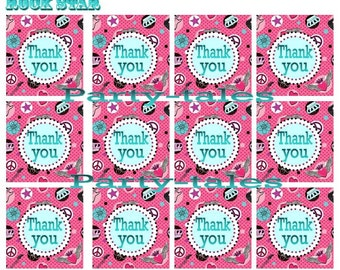 Rock Star Rocker Princess Birthday Girl Party Printable THANK YOU favor tags Instant Download by PartyTales