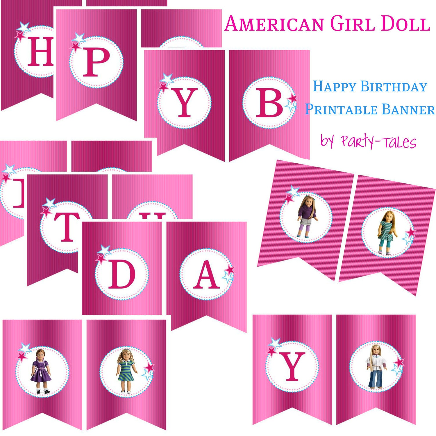 American Girl Doll Printable Birthday Party Banner By