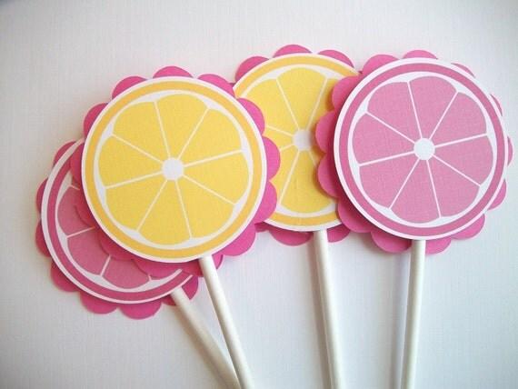 Pink Lemonade Cupcake Toppers, Set of 12
