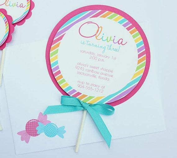 Lollipop Invitation - Colorful Stripes Set of 12