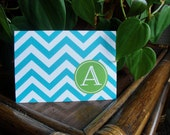 Stationery Set, Modern Notecards, Monogram Stationery, Postcard Cards, Chevron Flat Notes, Contemporary, Aqua Stationery CHOOSE COLORS