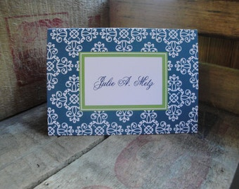 Stationery Set, Modern Notecards, Monogram Stationery, Folded Cards, Damask Cards, Vintage, Damask Stationary CHOOSE COLORS