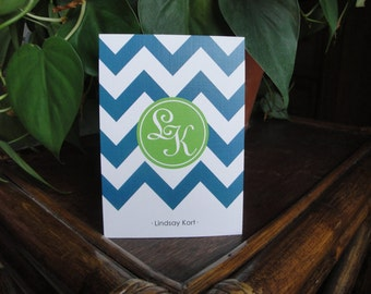 Stationery Set, Modern Notecards, Monogram Stationary, Folded Cards, Chevron Cards, Contemporary, Green Stationery CHOOSE COLORS
