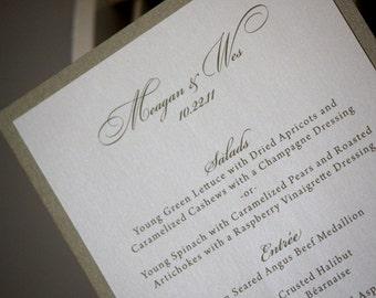 100 Wedding Menus, Classic Style, CHOOSE COLORS, Wedding Invitation, Menu, Place Cards, Wedding Table Setting