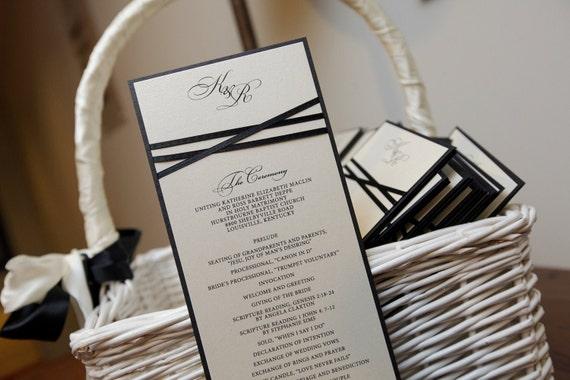 100 Wedding Programs, Classic Ribbon Detail, Ceremony Programs, Elegant, Classic, CHOOSE COLORS