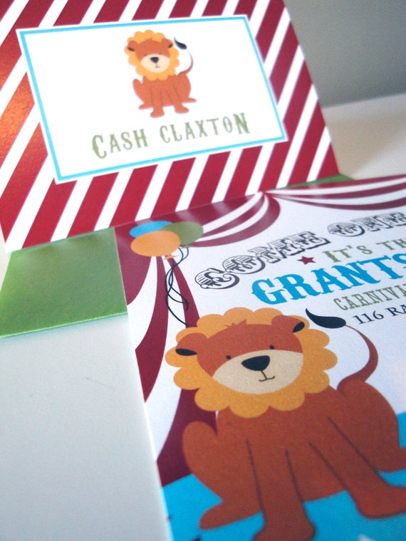 Reserved for AustinMom Circus Invitations, Carnival Theme, Carnival Invitations, DIY, Monkey, Lion, Big Top, Customize