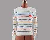 Vintage 1970's Rainbow Stripe Whale Heart Novelty Sweater S