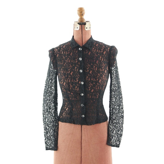 Vintage 1950's Sheer French BLACK Floral Lace Tailored Blouse S