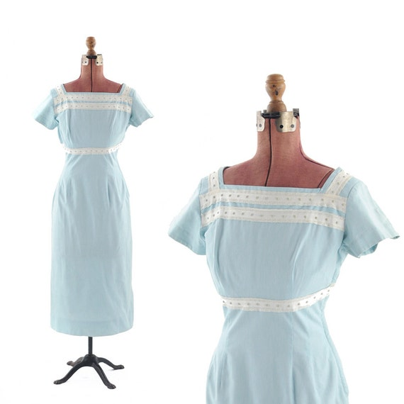 Vintage 1950s Powder Blue Hourglass Country WIGGLE Dress S
