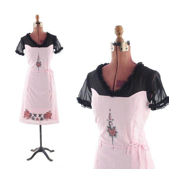 Vintage 1990s Pink Baby Doll Grunge Sheer Ruffle DRESS S