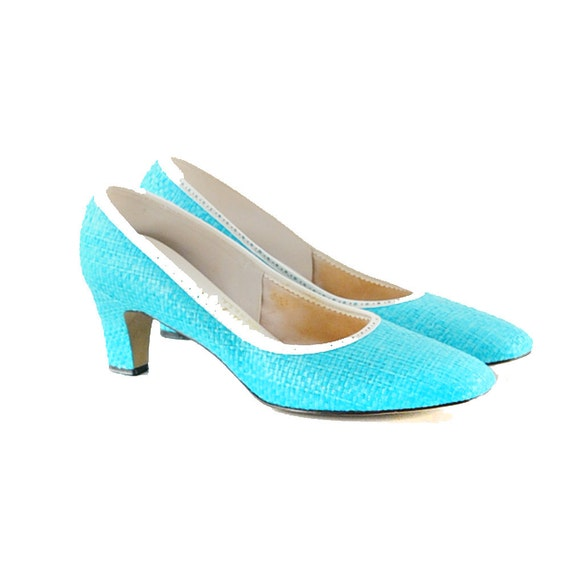 Vintage 1960's Sky Blue Neon WOVEN Summer Shoes Heals 9