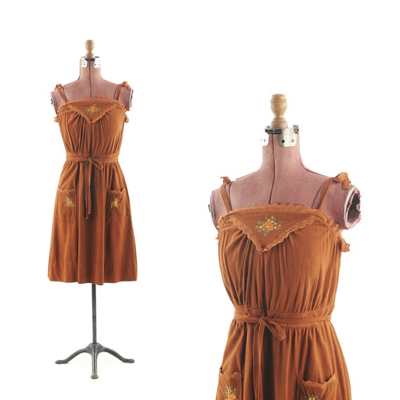 Vintage 1970's Chocolate Brown Bow Summer Floral Sun Dress M