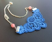 Lace necklace,blue lace with rose glassbeads, statement