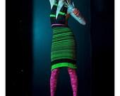 GREEN HORNET - neon green halter knit dress
