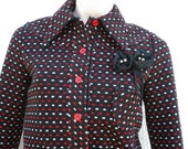 Designer Upcycled Wool Button Up Jacket & Black Brooch