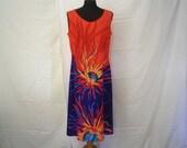 Retro Printed Dress Vintage Colorful Elastic Dresses