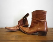 RESERVED FLANEUSEPLUS Leather Brown Booties Spanish Vintage Clothing Shoes
