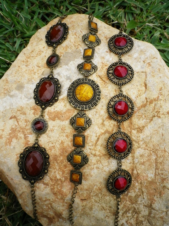 Metal & Resine Bracelets Set Vintage Colored Ethnic Style 3 Pcs