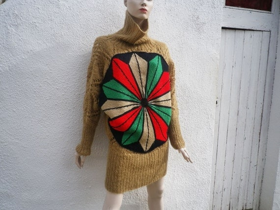RESERVED FATI      Designer Upcycled Clothing Crochet Sweater Dress