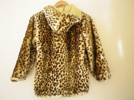 Girls Hooded Coat Vintage Leopard Faux Fur Childrens Jacket