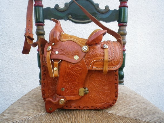 Leather Handbag Vintage Country Western Pouch Collectable Horse Saddle Bag