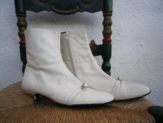 Vintage White Leather Booties