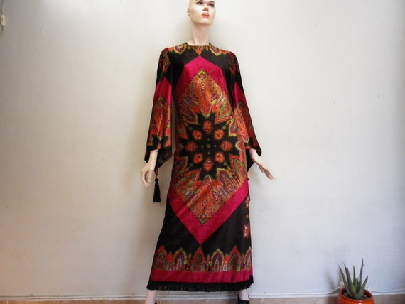 Colorful Velvet Dress German Vintage Clothing