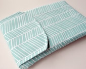 Kindle keyboard / fire gadget pouch : abstract chevron print in aqua blue and white with flap.