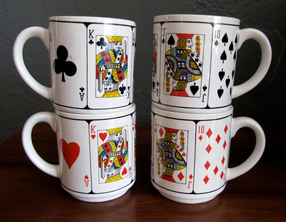 Set of 4 Vintage Playing Cards Mugs