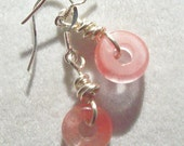 Cherry Quartz Earrings Wire Wrapped with Silver Plated Wire     ID 180