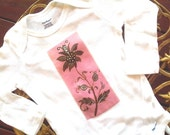 Hand Painted Baby ONESIE - Pink Flower Art - Hand Painted - Heat Transfered  - DELILA ROSE Line By AddieGertrude