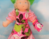 Waldorf Doll Apron, Chef Hat and Oven Mitt  in Pink Leaves