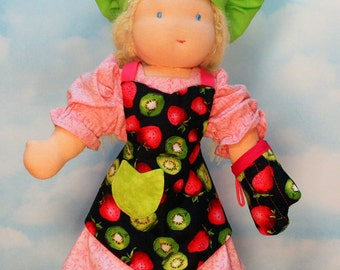 Waldorf Doll Apron, Chef Hat and Oven Mitt in Kiwi and Strawberry