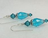 SALE...Crystal turquoise earrings, Swarovski crystal, sterling earwires.